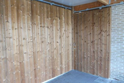 luxe schuifdeur dubbel thermowood grenen voor modern bijgebouw kwaliteit
