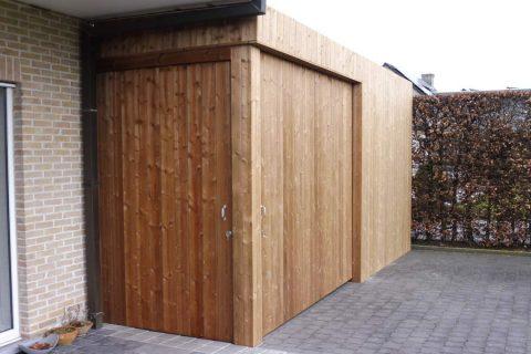 moderne design schuifdeur buiten thermowood grenen bijgebouw