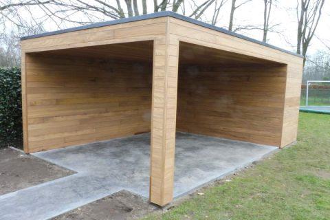 Houten gevelbekleding afromosia modern plat dak