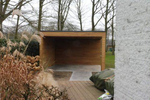 Tuinhuis afromosia gevelbekleding modern plat dak